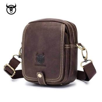 small Genuine Leather men's Shoulder bag mini cowhide leather Crossbody bags fashion Handbags Leather man Messenger bag Cross Body Bags