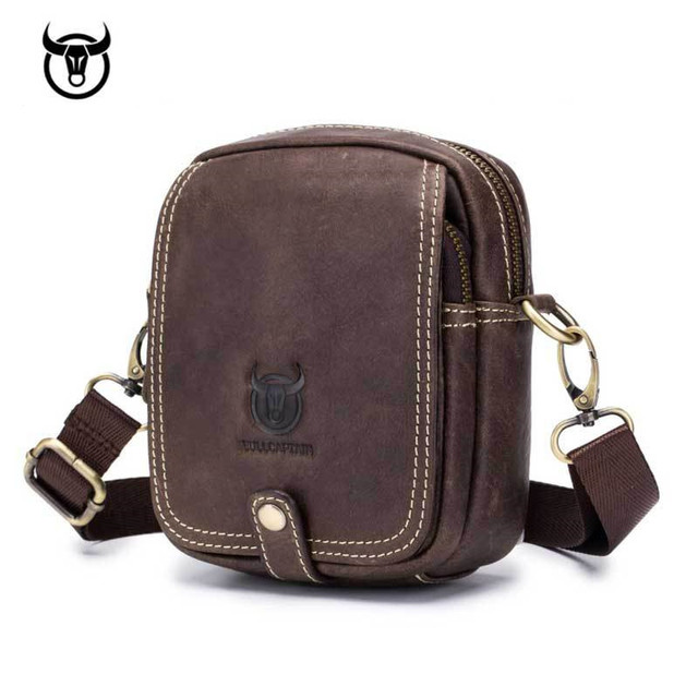 ecb442936868 small Genuine Leather men s Shoulder bag mini cowhide leather Crossbody bags  fashion Handbags Leather man Messenger