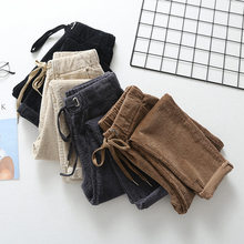 Corduroy Pants Women New Loose Lace Up Elastic Waist Harem Pants Autumn Winter Corduroy Warm Long Trousers Women Pantalon C5119