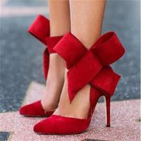 2017 Big Bow Tie Pumps Shoes Women Butterfly Pointed Stiletto Shoes Woman High Heels Bowknot Advisable