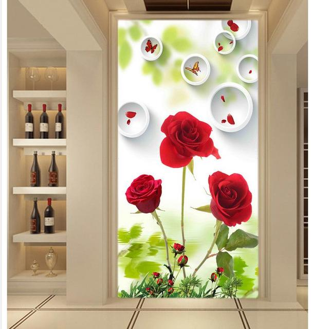 Home Decoration Beautiful Red Rose 3d Stereoscopic Circle Backdrop Entrance  Entrance Hall Mural 3d Wallpaper