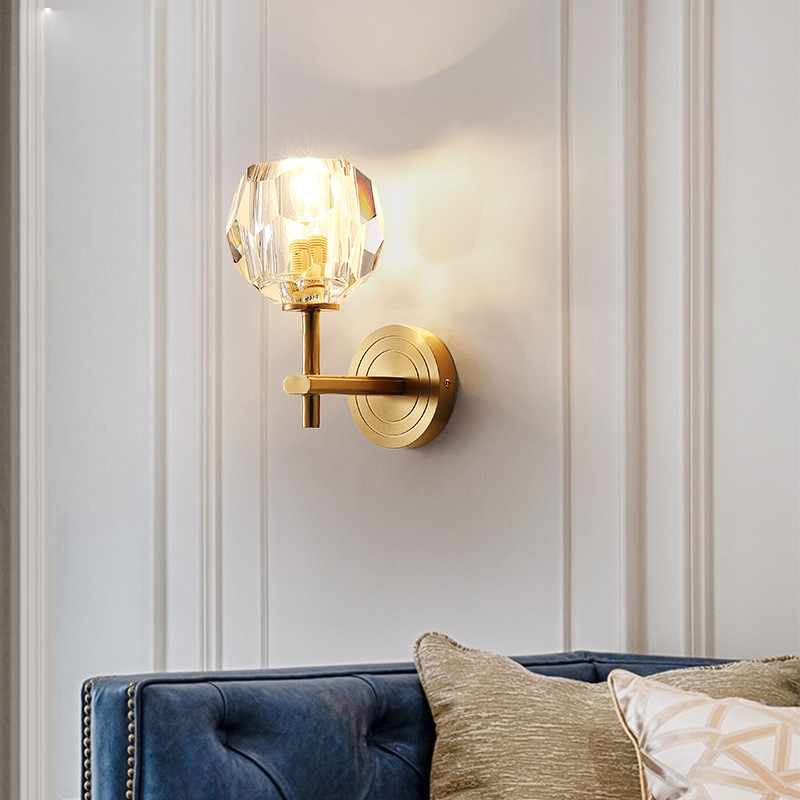 European-style wall lamp, restaurant balcony bedside lamp Copper crystal wall sconces lighting new arrival retro style restaurant coffee shop decoration iron wall lamp 40w e27 corridor bedside wall sconces lighting