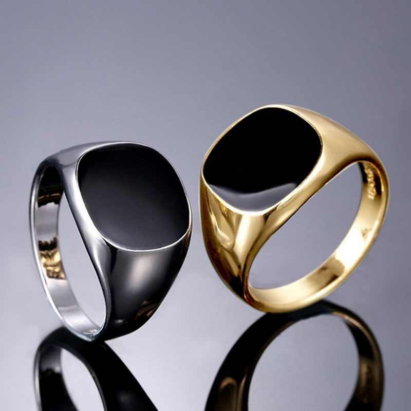LASPERAL Vintage Men Jewelry Alloy Ring For Male Trendy Minimalist Design Silver Gold Black Oil Drop Enamel Mens Rings Size 7-12