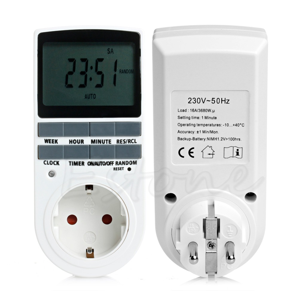 Digital Programmable Timer LCD Plug-in Socket Switch Plug 12/24 Hour US - L057 New hot цена