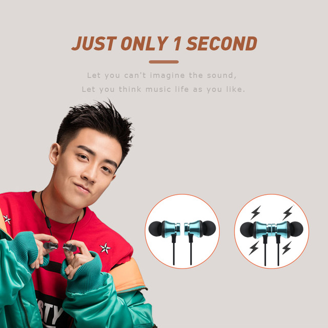 ANBES Magnetic Attraction Bluetooth Earphone Headset Waterproof Sports with Charging Cable Young Earphone Build-in Mic