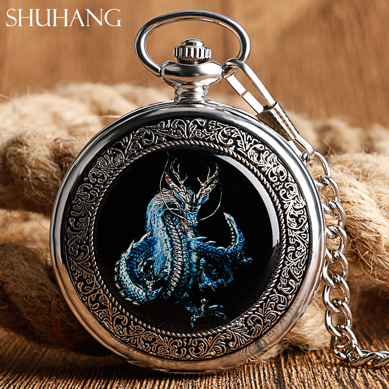2017 New Fashion Dragon Design Silver Mechanical Hand Winding Pocket Watch With Chain Men Steampunk Fob Watch Relogio De Bolso цена