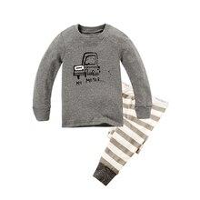 Одежда, ночное стайлинг наборы мальчиков печати пижамы автомобилей детская девушки набор