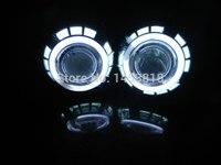 Круговой 3 дюйма ксеноновые проектор линзы CCFL Двухместный Angel eyes H1 H7 H4 H11 9005 9006 9004 9007 белого и синего цвета желтый красный зеленый