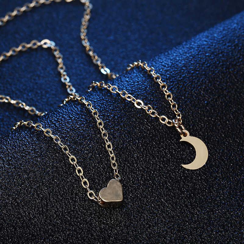 ใหม่อินเทรนด์ผู้หญิงเครื่องประดับดวงจันทร์รักสร้อยคอหัวใจเล็กๆสร้อยคอจี้ Layered Kolye Boho Collier ของขวัญ