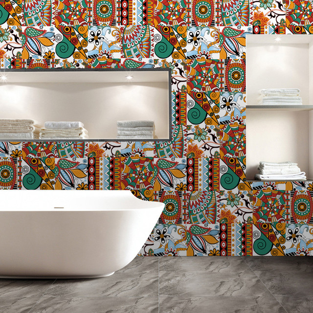 retro moroccan mosaic wall tile stickers waterproof floor wall decal