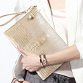 Fashion Solid Women's Clutch Bag Leather Women Envelope Bag Gold Zipper Gold Evening Clutch Female Handbag for Iphone Case Bag