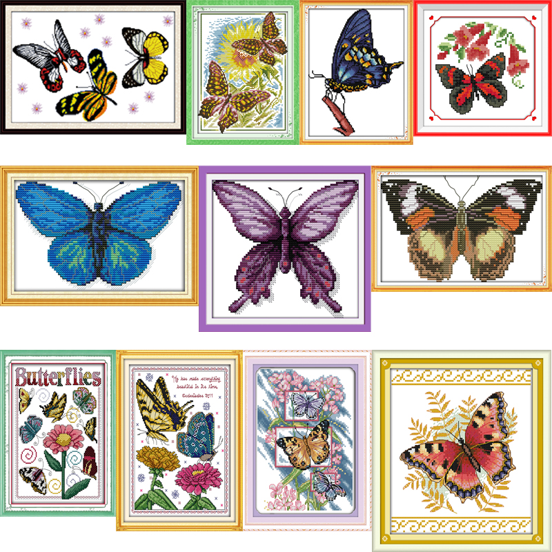 oneroom Joy Sunday Butterfly Series Canvas DMC Counted Chinese Cross Stitch Kits printed Cross-stitch Embroidery Set Needlework image