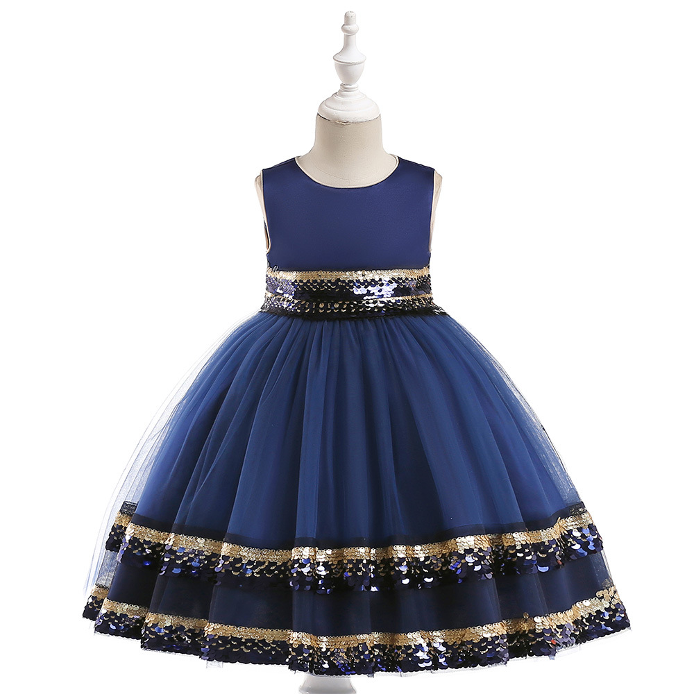2019 New   Flower     Girl     Dresses   Navy Belt Ball Gown Knee Length SScoop Tulle Lace For Weddings First Communion   Dresses