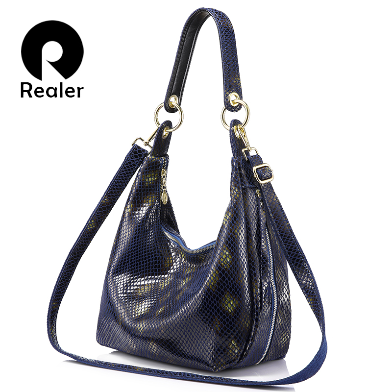 Realer brand women shoulder bag with serpentine prints women genuine leather handbag ladies crossbody bag hobos fashion realer brand women shoulder bag with