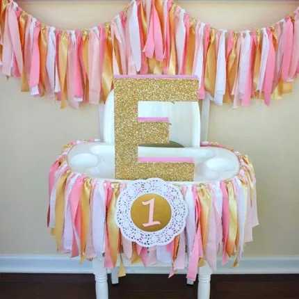 Custom Pink Gold 1 one banner baby girl highchair bunting princess first birthday Flag baby 1st party decorate nursery garland