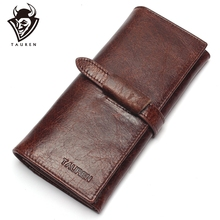 แบรนด์หรูใหม่ 100% ของแท้หนังCowhideคุณภาพสูงผู้ชายยาวกระเป๋าสตางค์เหรียญกระเป๋าVintage DesignerชายCarteiraกระเป๋าสตางค์
