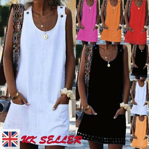 Fashion Women Lady O-Neck Sleeveless Linen Dress Button Pockets Shirt Mini Dress