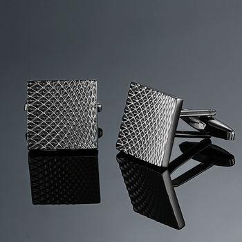 Copper quality enamel square stripes gold silver black flower cufflinks Top brand 2