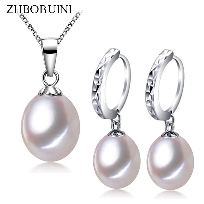 ZHBORUINI 2017 Fashion Pearl Jewelry Set Natural Freshwater Pearl Necklace Earring 925 Sterling Silver Jewelry For Women Gift crystal jewelry set sterling silver jewelry 100% 925 formal jewelry set natural freshwater pearl