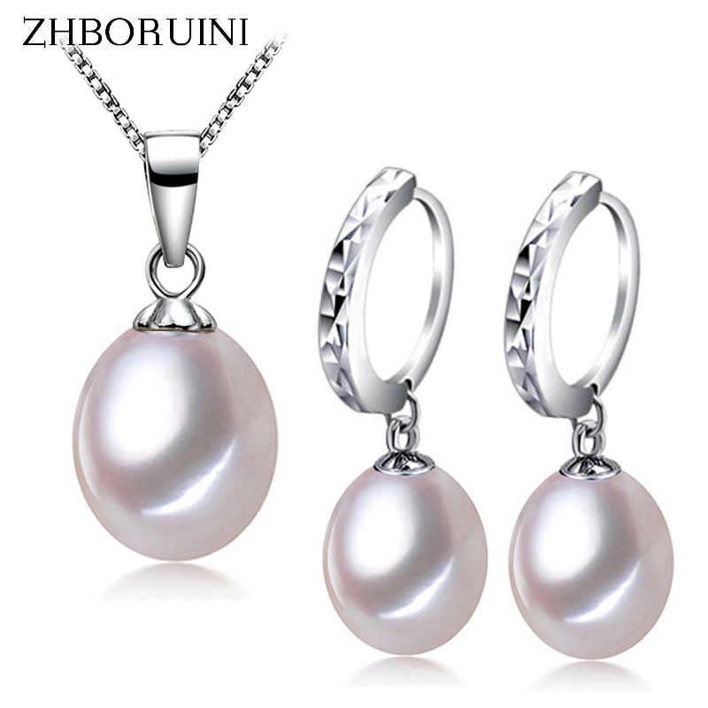Zhboruini 2017 أزياء اللؤلؤ والمجوهرات مجموعة الطبيعي لؤلؤ المياه العذبة قلادة القرط 925 الاسترليني والفضة والمجوهرات للنساء هدية