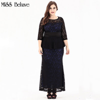 Polyester 2017 Autumn Women Plus Sizes 6xl Dresses Femme Elegant Lace Office Party Dresses Casual O