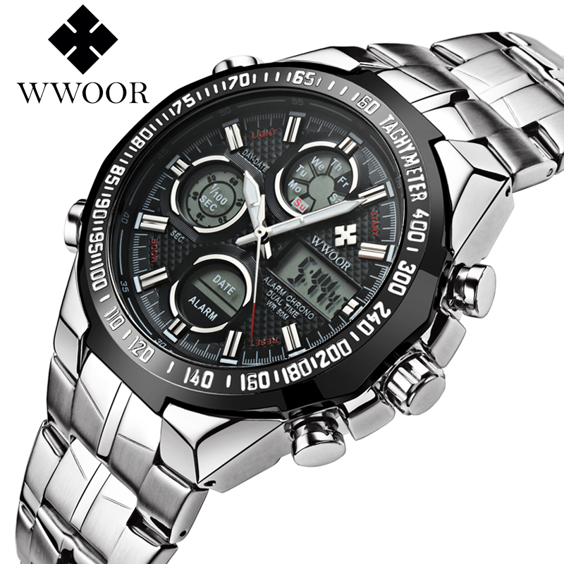 New Brand WWOOR Watch Men Luxury Alarm Chronograph Clock Steel Led Display Military Watches Male Luminous Waterproof WatchesNew Brand WWOOR Watch Men Luxury Alarm Chronograph Clock Steel Led Display Military Watches Male Luminous Waterproof Watches