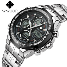 New Brand WWOOR Watch Men Luxury Alarm Chronograph Clock Steel Led Display Military Watches Male Luminous