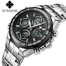 New Brand WWOOR Watch Men Luxury Alarm Chronograph Clock Steel Led Display Military Watches Male Luminous Waterproof Watches