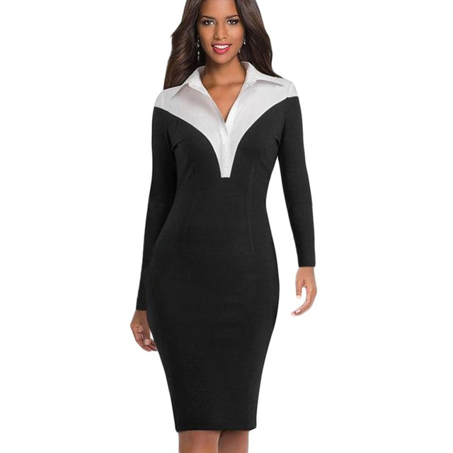 5c19cfbb74a Ladies Dress Turn down collar Knee Length Midi Elegant Patchwork White and  Black Sleeve Business Dress Fmasuth 220561