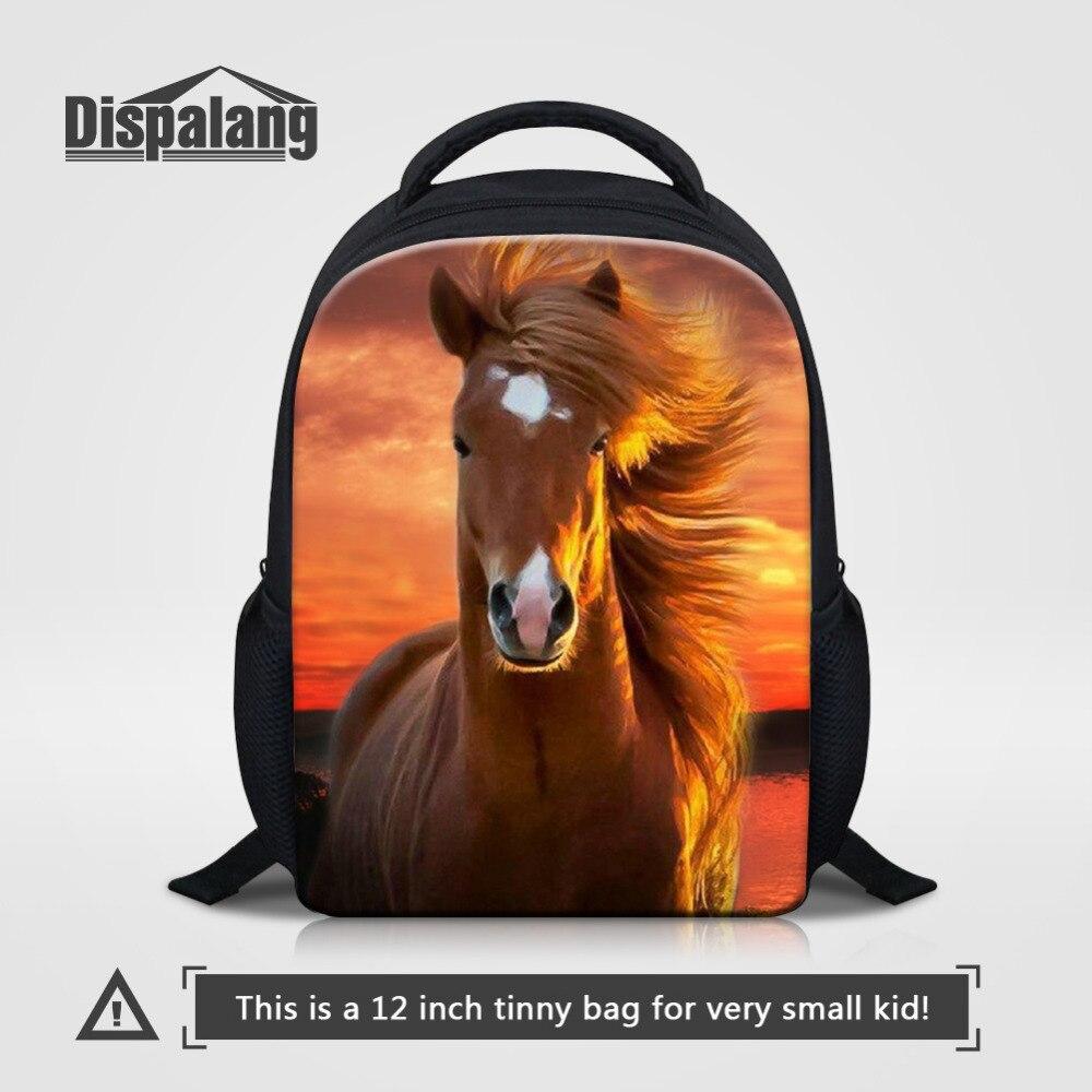 Dispalang 12 inch Kids Animal Backpack For Kindergarten School Bag Horse Head 3d Printing Bagpack Small Baby Book Bag mochila