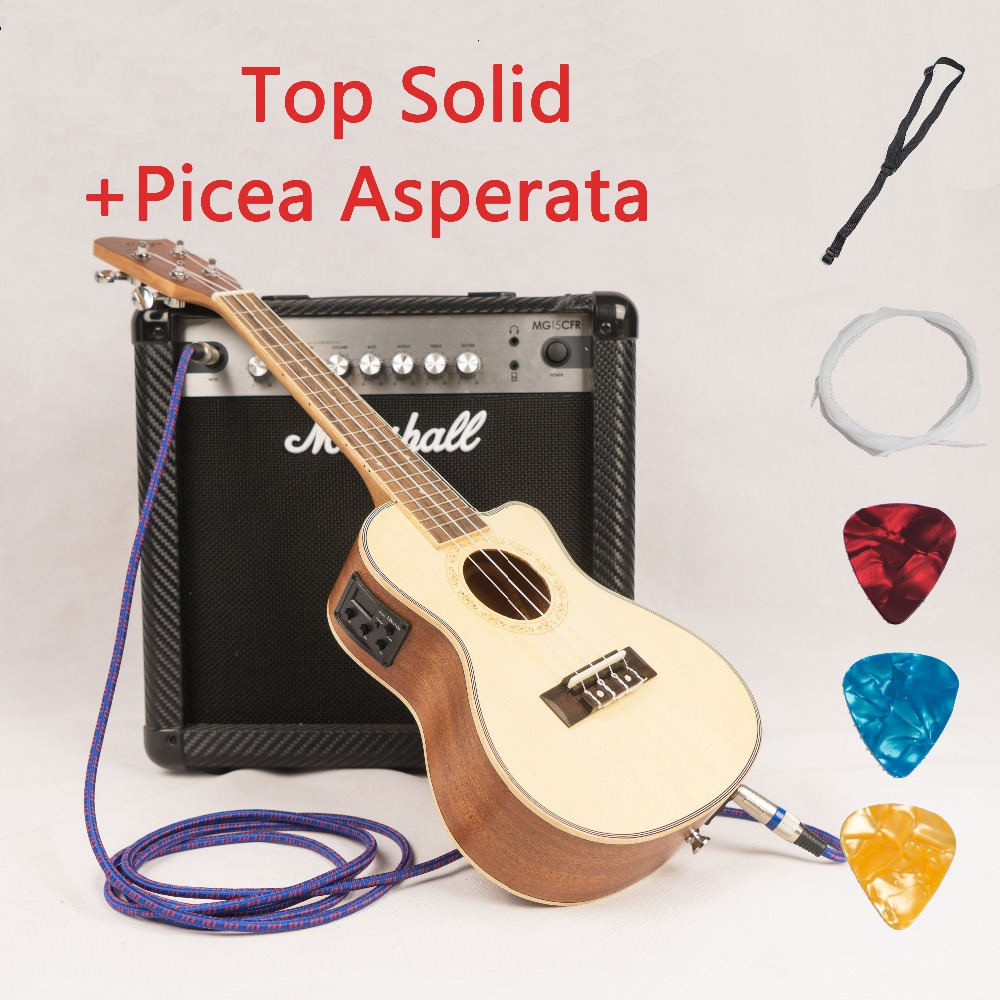 Ukulele Solid Top 23 26 Inch Mini Guitar Acoustic Electric Concert Tenor 4 Strings Ukelele Cutaway Guitarra Picea Asperata цены