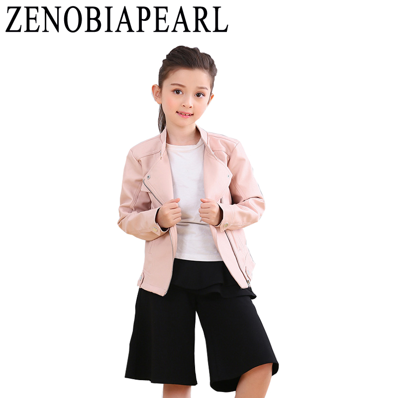 Kids Clothes Girls Leather Jacket Fashion Girls PU Jacket Children Leather Outwear For Girl Baby Girl Jackets and Coats