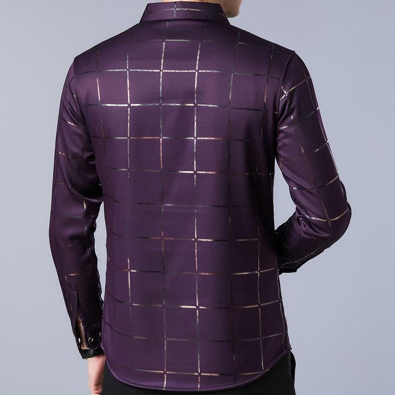 2020 Brand Casual Spring Luxury Plaid Long Sleeve Slim Fit Men Shirt Streetwear Social Dress Shirts Men's Fashions Jersey  2