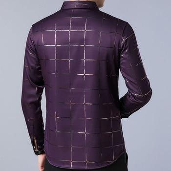 2019 brand casual spring luxury plaid long sleeve slim fit men shirt streetwear social dress shirts mens fashions jersey 2309
