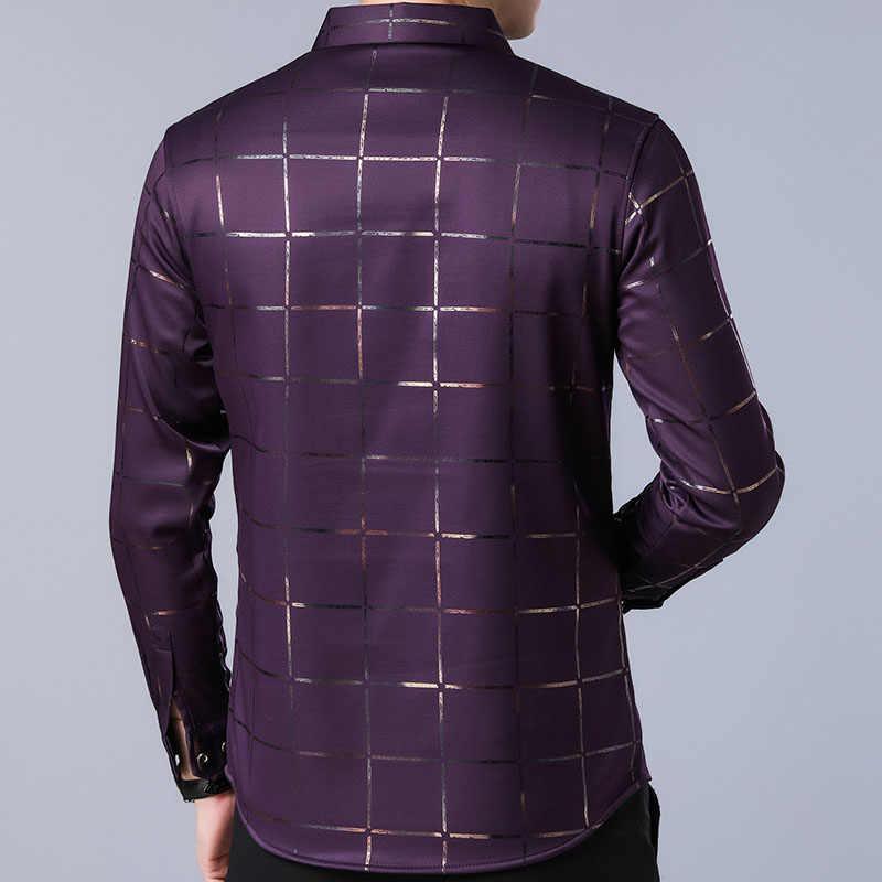 2019 브랜드 캐주얼 봄 럭셔리 격자 무늬 긴 소매 슬림 맞는 남성 셔츠 streetwear 사회 복장 셔츠 망 패션 저지 2309