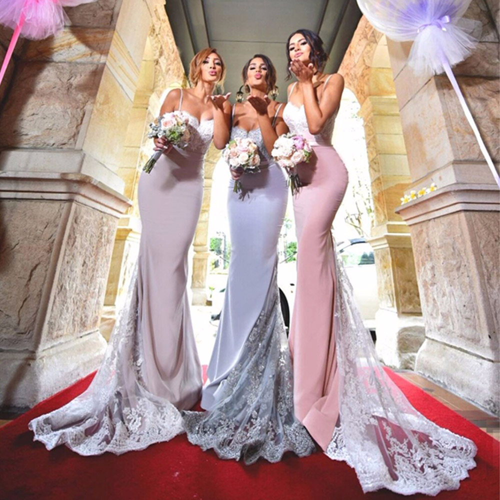 Romantic Pink Sweetheart Long   Bridesmaid     Dresses   Long Sexy   Bridesmaid   Gown Lace Appliques Backless Court Train Vestido De Festa