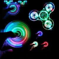 Luminoso LED luz Fidget Spinner mano mejores Spinners resplandor en oscuridad luz EDC Fidget Spiner dedo juguetes del alivio de tensión
