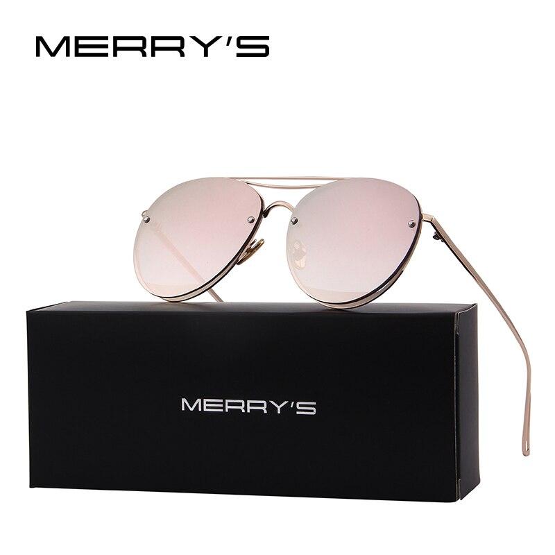 MERRY'S 2017 Nouvelle Arrivée Femmes Classique Marque Designer lunettes de Soleil Sans Monture Double Poutre En Métal Cadre Lunettes de Soleil S'8096