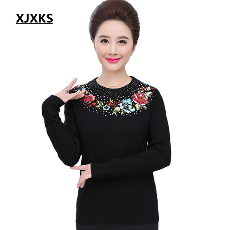 XJXKS Round Neck Flowers Beading Women Pullovers Sweater Mother Clothing Beautiful Large Size Long Sleeve Jumper