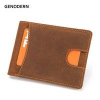 GENODERN Crazy Horse кожаный мини-кошелек для мужчин бумажник из натуральной кожи держатель для карт мужские кошельки