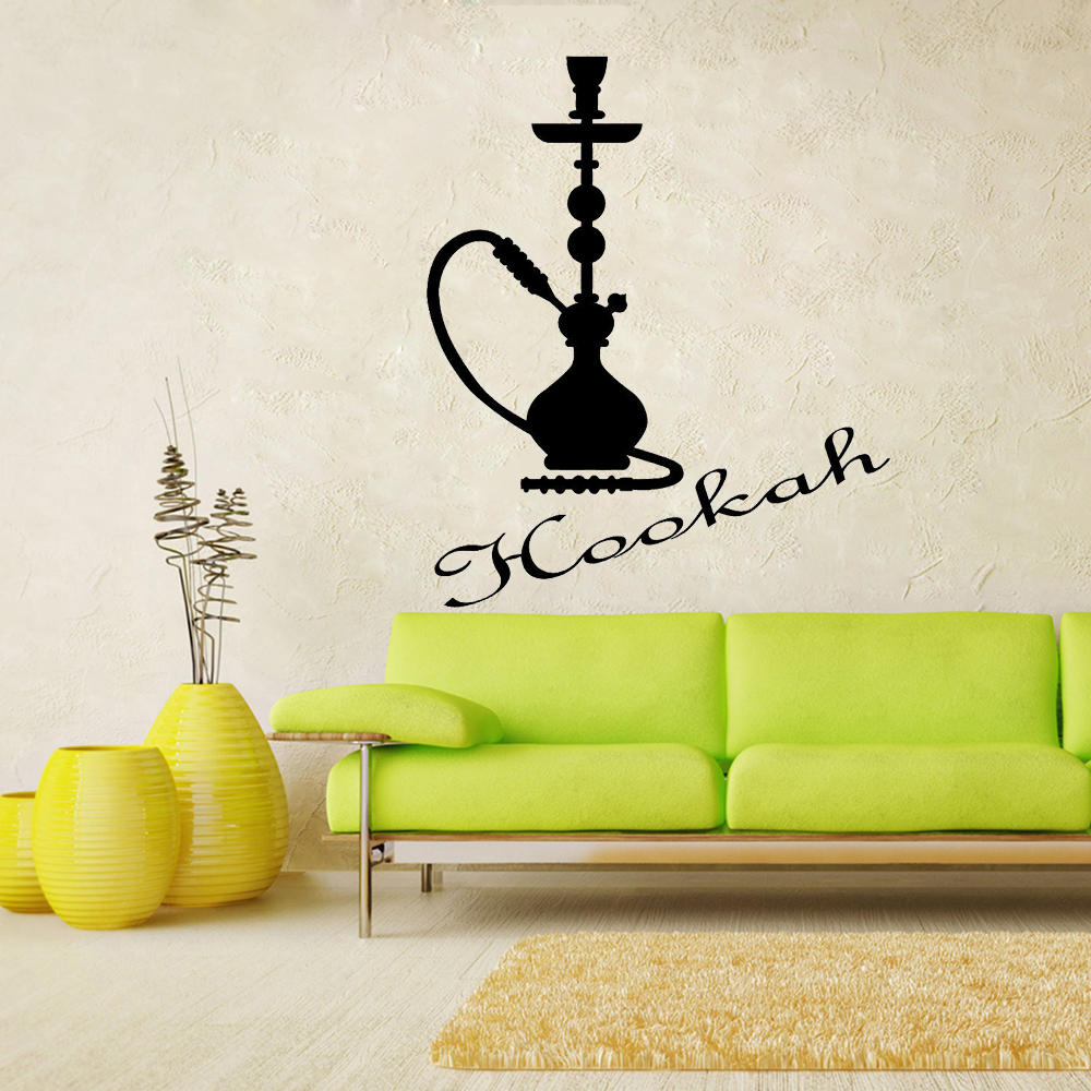 Hookah Logo Bar Wall Window Stickers Cafe Lounge Room Decoration Vinyl Wall Decals Smoking Room Living Room Decor Poster A089 Wall Stickers Aliexpress