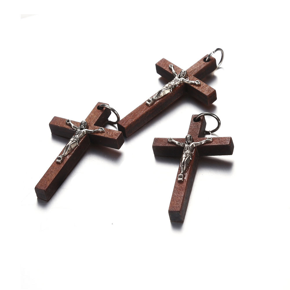 Cross-Pendant-Charms Findings Jewelry Making-Accessories Christ Vintage Wholesale Brown