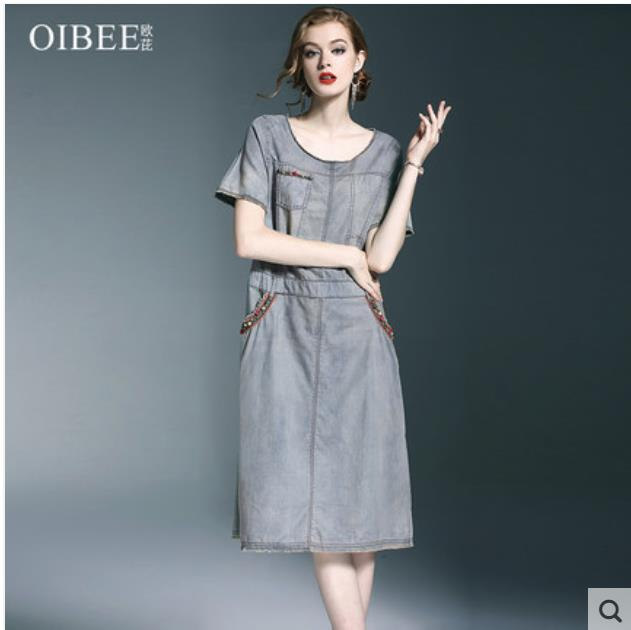 2018 summer dress of women s wear new long denim dress fashionable loose large size vintage