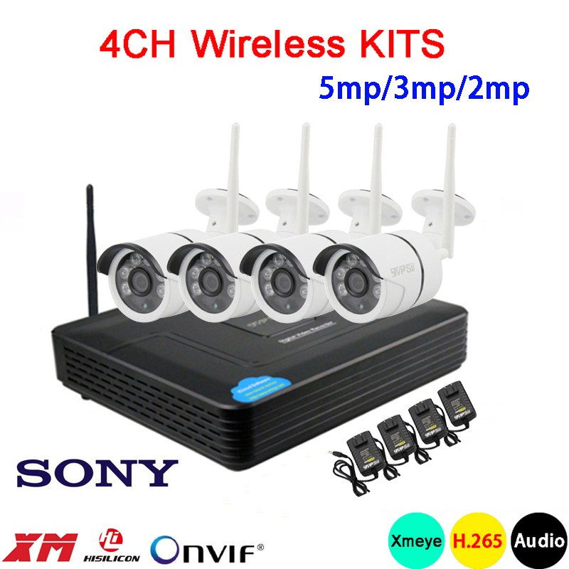 5mp/3mp/2mp Six Array Infrared Icsee Waterproof H.265 25fps 4CH 4 Channel WIFI Wireless Audio Onvif IP Camera Kits Free Shipping