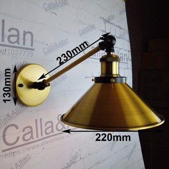 LOFT Retro Wall Lamp Iron E27 Vintage Wall Light Bronze Lampshade single Adjustable Arm Sconce brass Bedroom Lighting