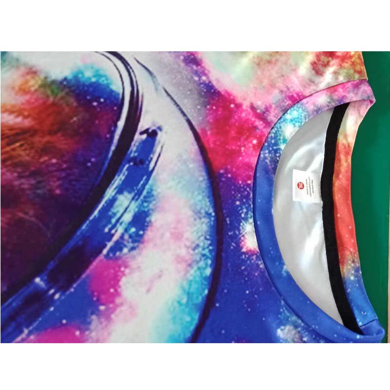Alisister Космос Кот 3d футболка EUR Размеры животных футболки Лето Galaxy забавные Camisa Masculina Для женщин футболки челнока