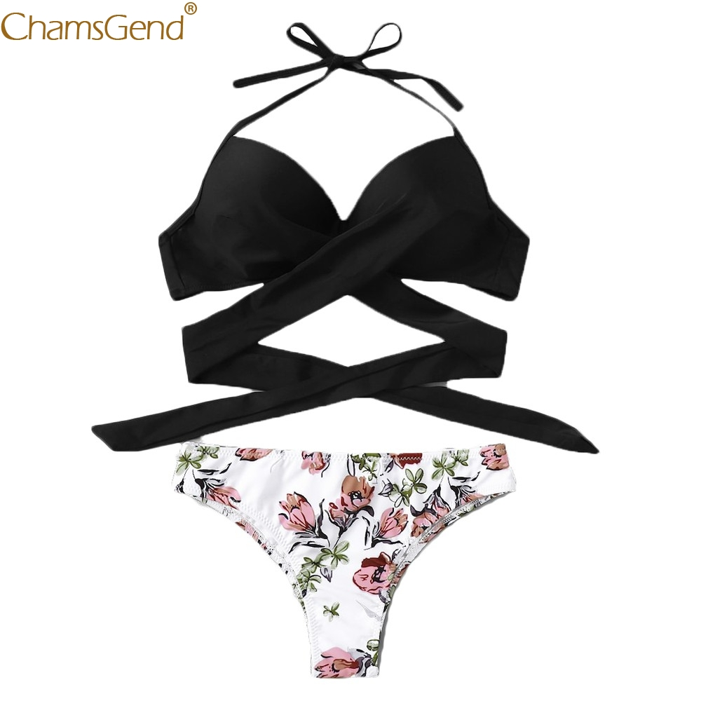 2019 two piece   Bra     Set   Sexy Underwear Padded Bandage Solid Colour Beach   bra     brief     sets   erotic Wire Free Adjusted Lingerie Jun23
