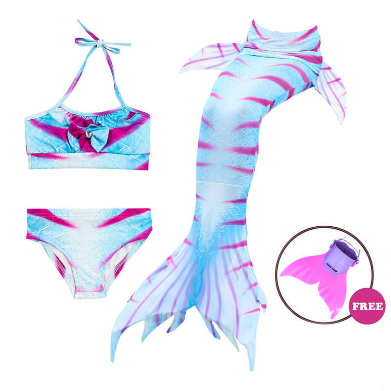 2018 NEW 4pcs/Set Children Mermaid Tail with Monofin Kids Bikini Swimmable Summer party Mermaid cosplay costume Gift for Girls 4pcs set the little mermaid tail costume princess ariel children mermaid tail cosplay kids for girl fancy swimsuits high quality