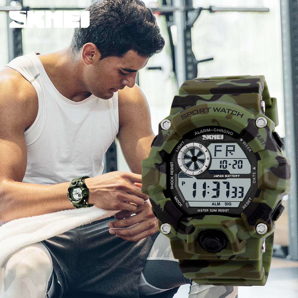 S SHOCK Men Sports Watches <font><b>SKMEI</b></font> Luxury Brand Camouflage Military Watches Digital LED Waterproof Wristwatches Relogio Masculino image