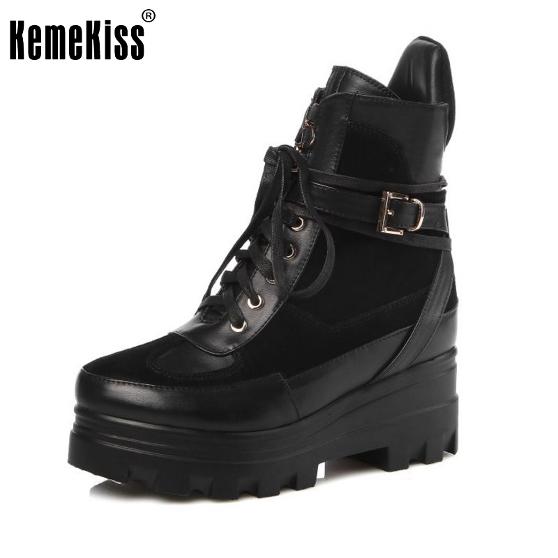 Women Platform Real Genuine Leather Short Boots Woman Square Heel Botas Ladies New Lace Up Heeled Casual Shoes Size 33-40 2017 real top cover heel open casual sapato feminino melissa genuine big size retro solid square heel shoes woman ladies womens